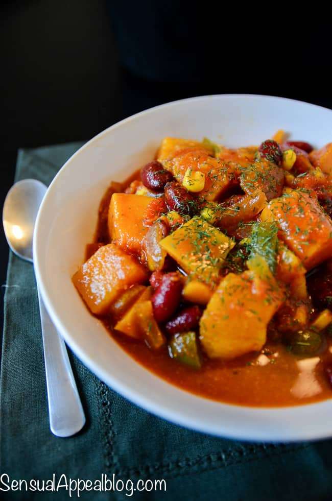 vegan butternut chili healthy crock pot recipe sensual