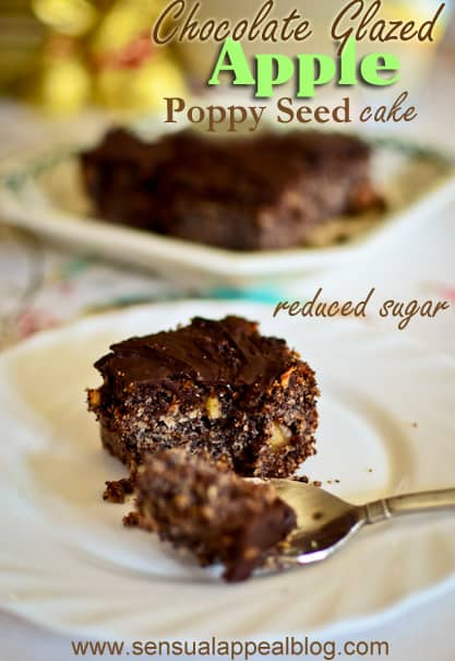 Apple Poppy Seed Cake with Chocolate Glaze