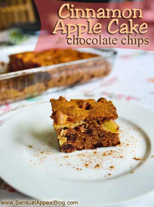 Cinnamon Apple Cake with dark Chocolate Chips - get the recipe at www.sensualappealblog.com