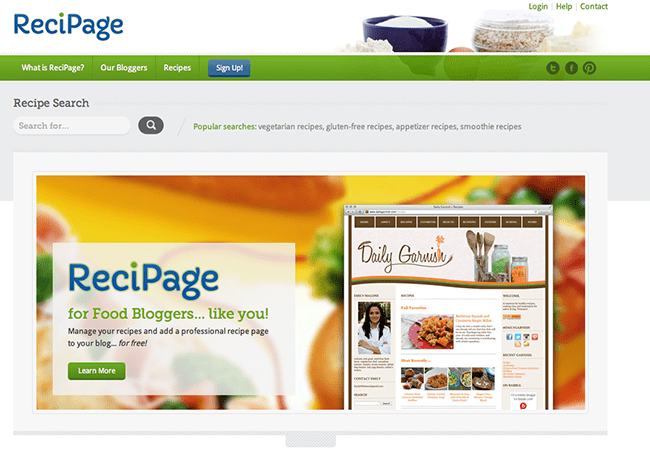 Recipage website