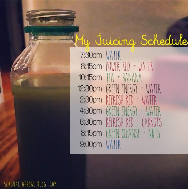 My 3 Day Juice Cleanse Schedule