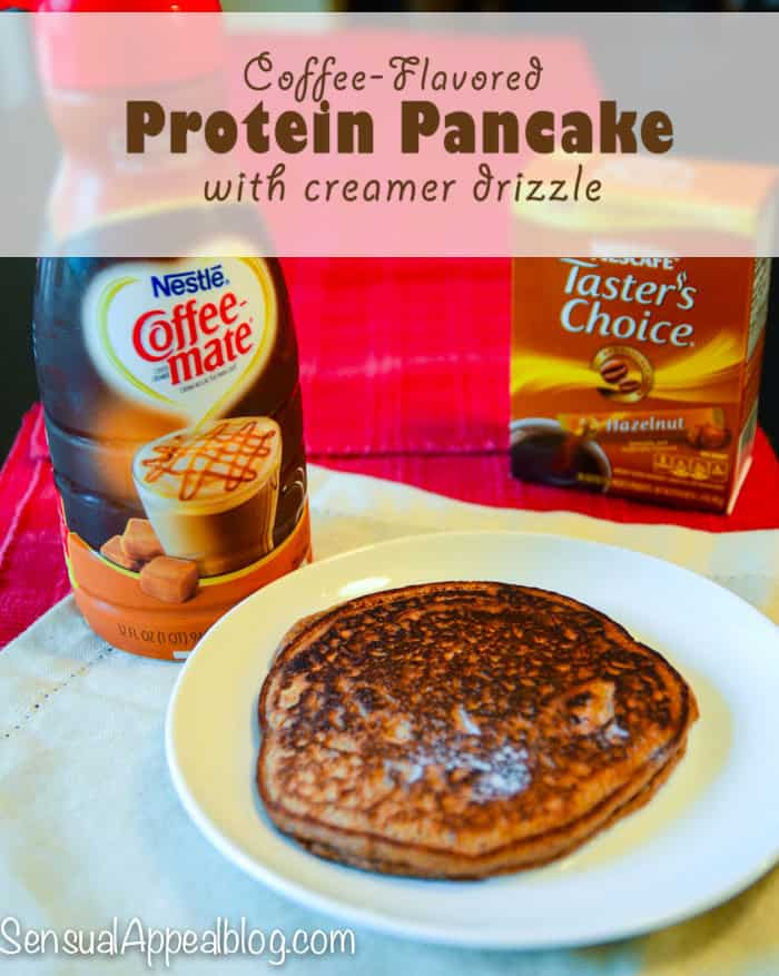 Coffee-flavored protein pancake with caramel macchiato creamer drizzle #MyGoodLife #Shop #Cbias