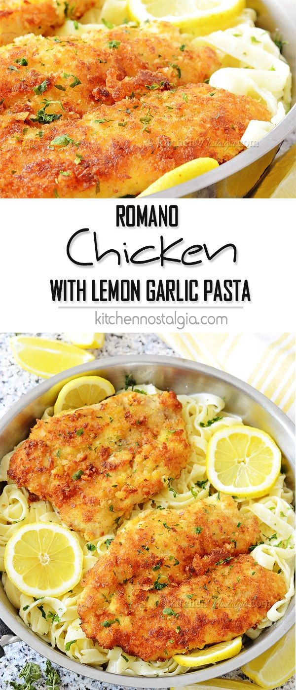 50 Best Chicken Recipes Ever - Get the recipe ♥ Romano Chicken with Lemon Garlic Pasta @recipes_to_go