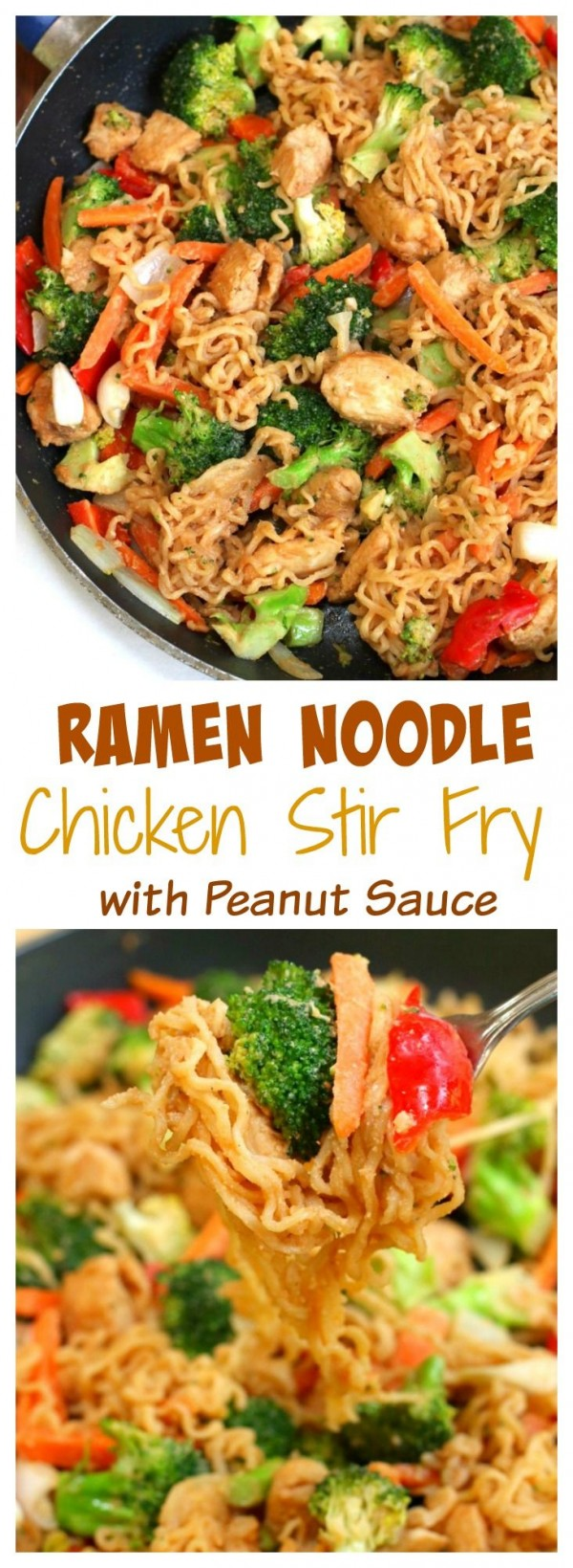 50 Best Chicken Recipes Ever - Get the recipe ♥ Ramen Noodle Chicken Stir Fry with Peanut Sauce @recipes_to_go