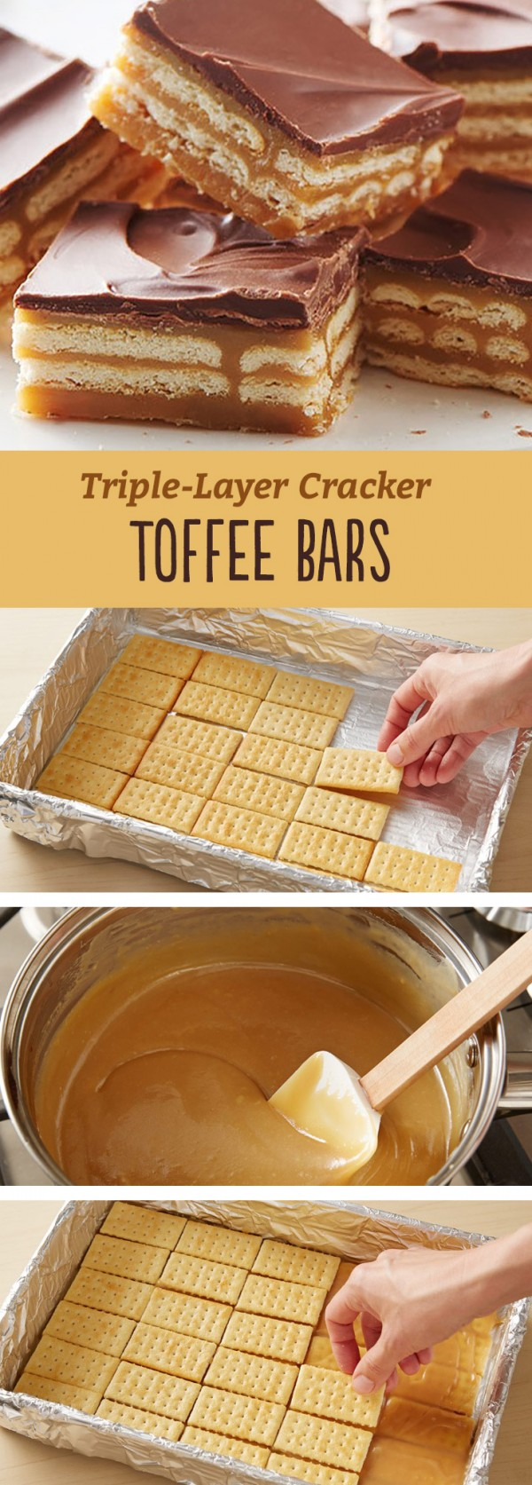 Get the recipe ♥ Triple Layer Cracker Toffee Bars #besttoeat @recipes_to_go