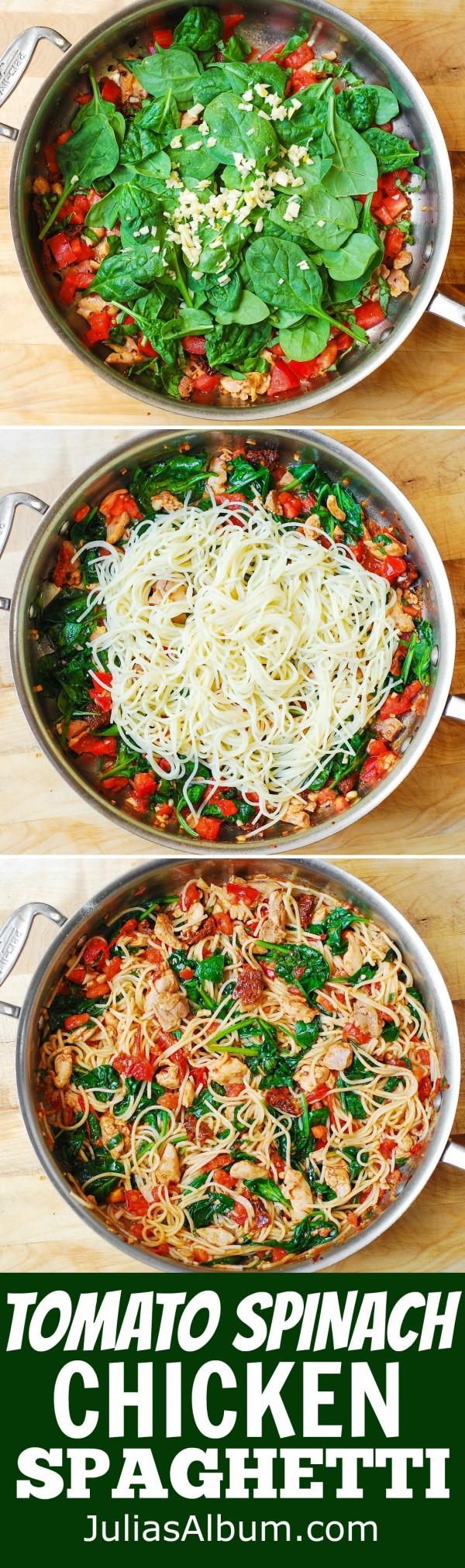 50 Best Chicken Recipes Ever - Get the recipe ♥ Tomato Spinach Chicken Spaghetti @recipes_to_go