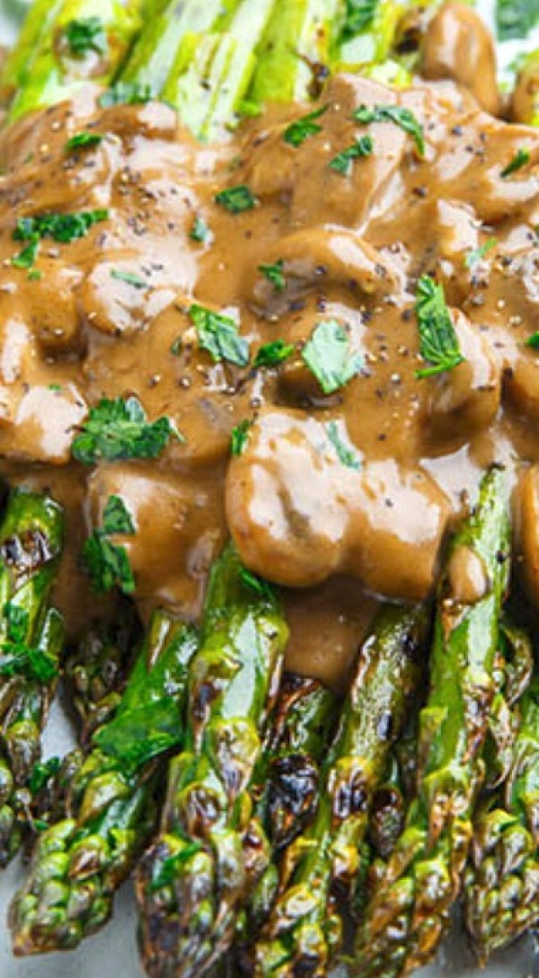 Get the recipe Grilled Asparagus in a Creamy Balsamic Mushroom Sauce @recipes_to_go