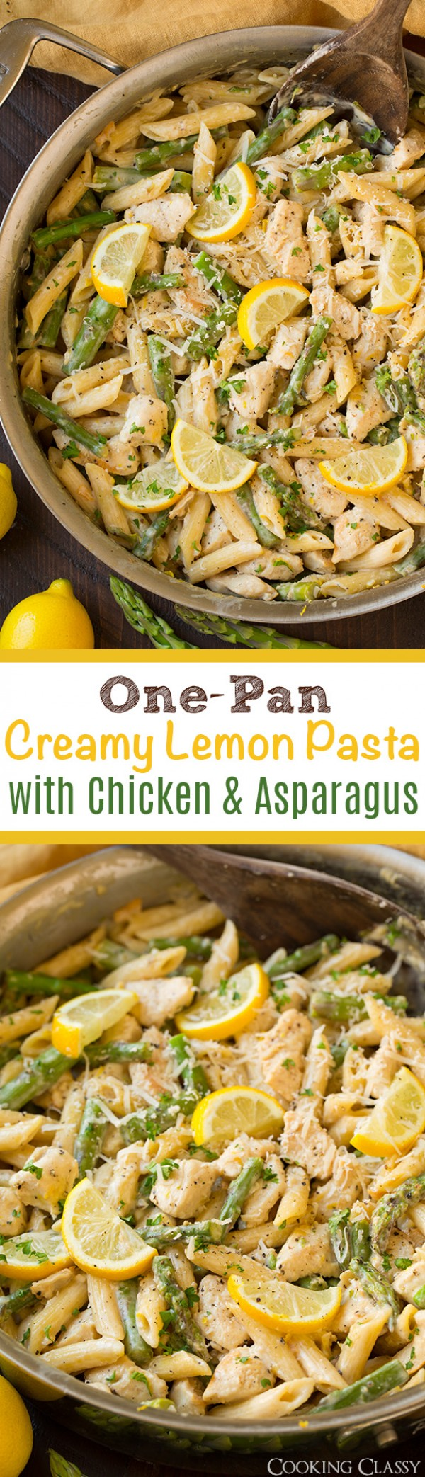 Get the recipe One-Pan Creamy Lemon Pasta with Chicken and Asparagus @recipes_to_go