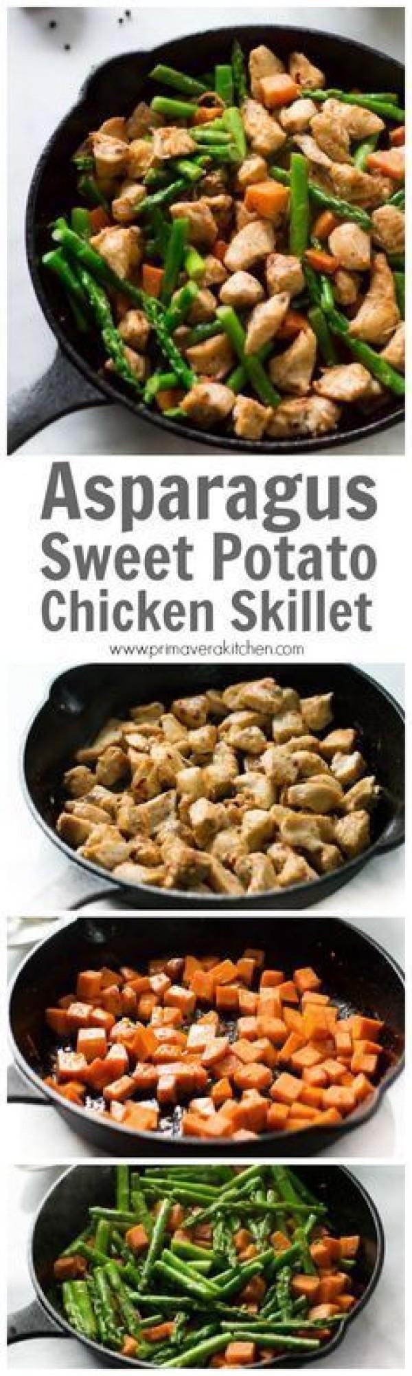 Get the recipe Asparagus Sweet Potato Chicken Skillet @recipes_to_go