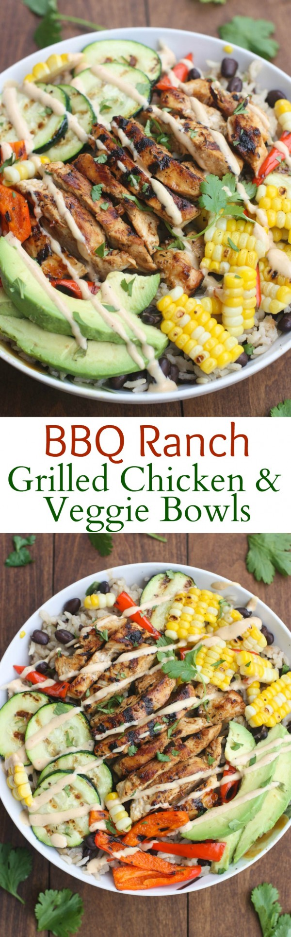 20 Unforgettable Chicken Recipes for a Romantic Dinner for Two - Get the recipe BBQ Ranch Grilled Chicken and Veggie Bowls @recipes_to_go
