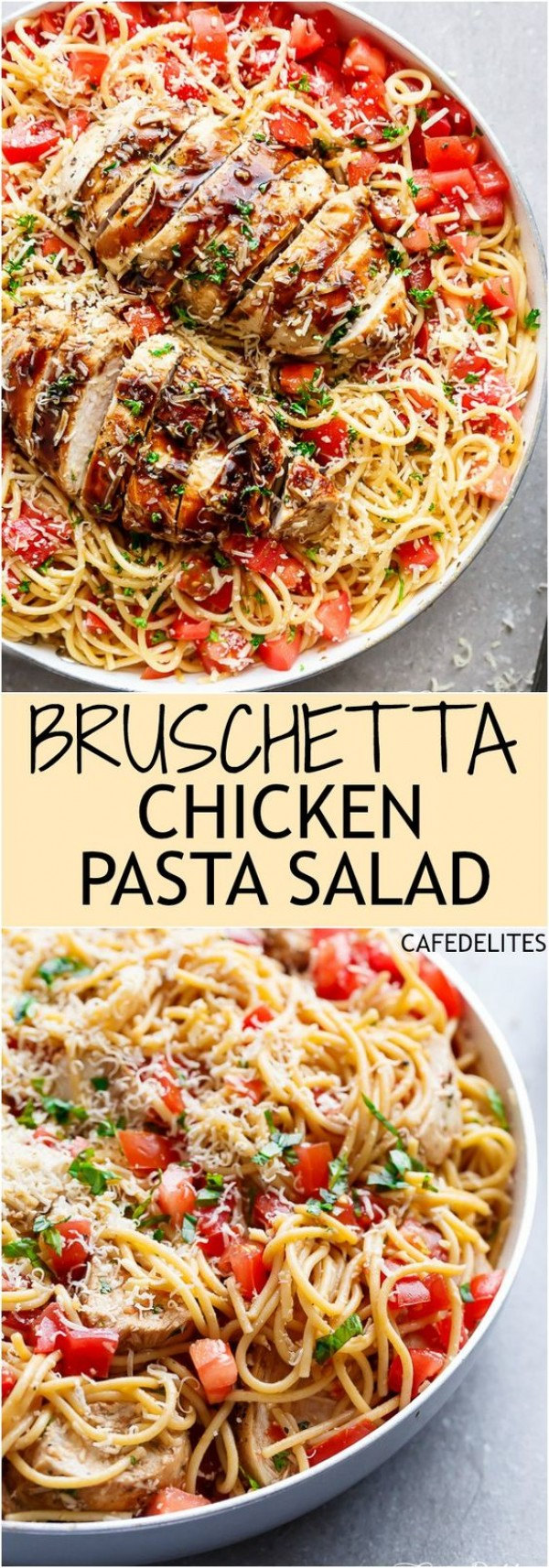 20 Unforgettable Chicken Recipes for a Romantic Dinner for Two - Get the recipe Bruschetta Chicken Pasta Salad @recipes_to_go