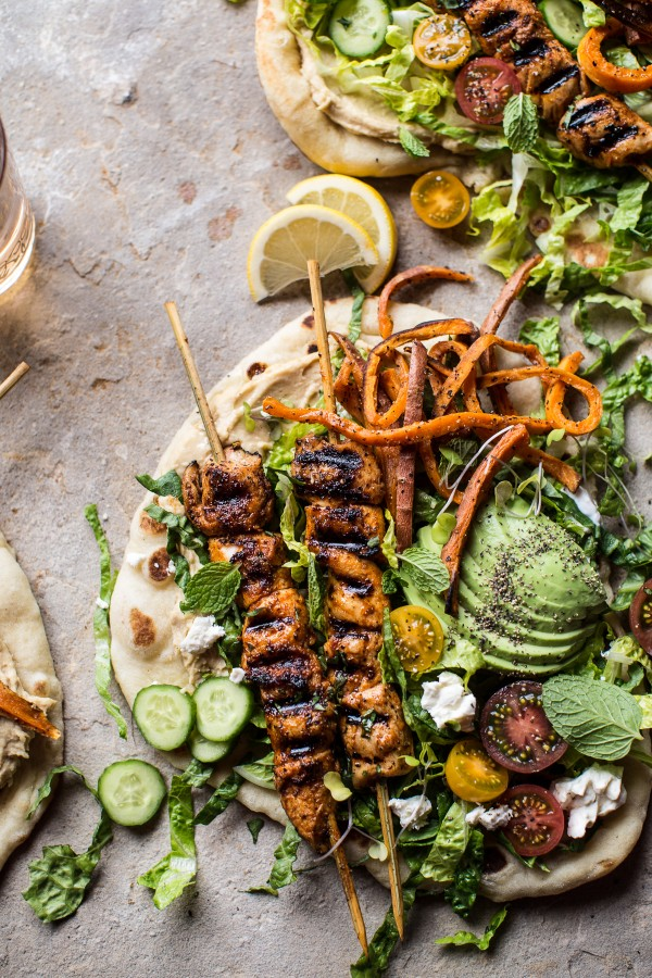 Get the recipe Chicken Shawarma Naan Salad with Sweet Potato Fries @recipes_to_go