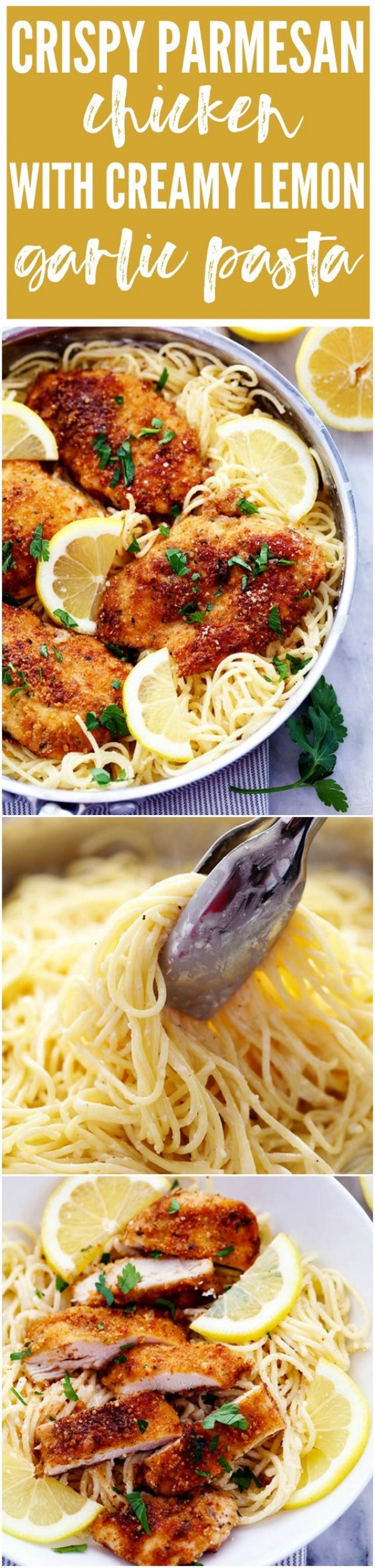 20 Unforgettable Chicken Recipes for a Romantic Dinner for Two - Get the recipe Crispy Parmesan Chicken with Creamy Lemon Garlic Pasta @recipes_to_go