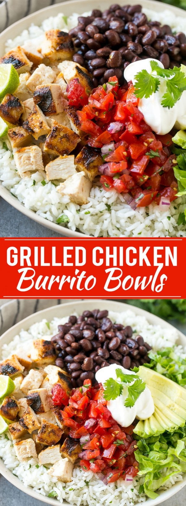 20 Unforgettable Chicken Recipes for a Romantic Dinner for Two - Get the recipe Grilled Chicken Burrito Bowls @recipes_to_go