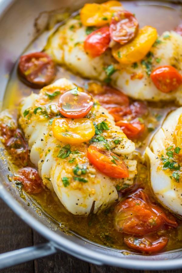 Get the recipe Pan-Seared Cod in White Wine Tomato Basil Sauce @recipes_to_go