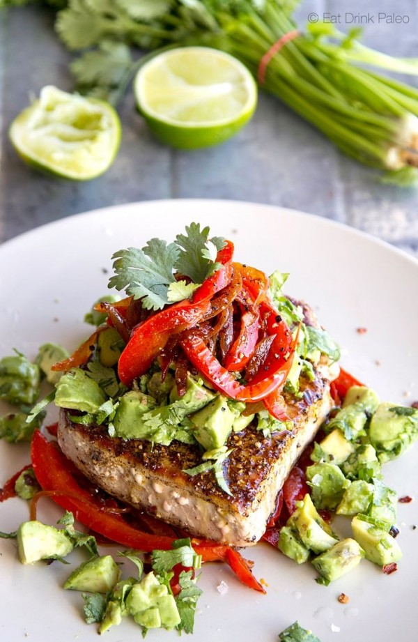 Get the recipe Mexican Tuna Steak, Sweet Red Peppers & Avocado Salsa @recipes_to_go