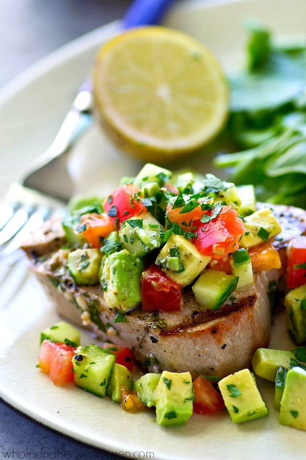 Get the recipe Cilantro-Lime Grilled Tuna with Avocado Cucumber Salsa @recipes_to_go