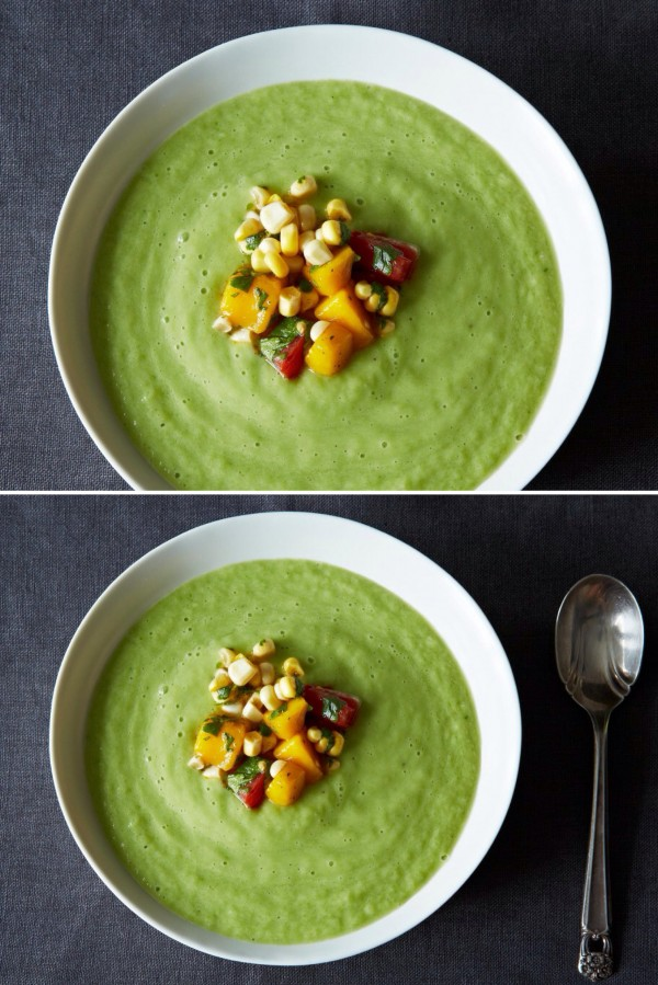 Get the recipe Chilled Cucumber and Avocado Soup with Mango Salsa @recipes_to_go