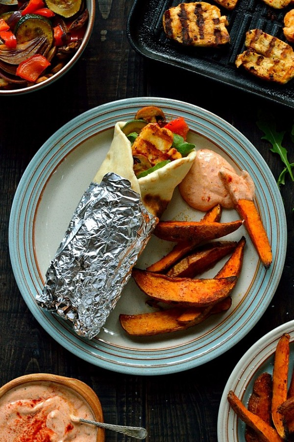 Get the recipe Harissa Halloumi and Roasted Vegetable Wraps and Sweet Potato Wedges @recipes_to_go