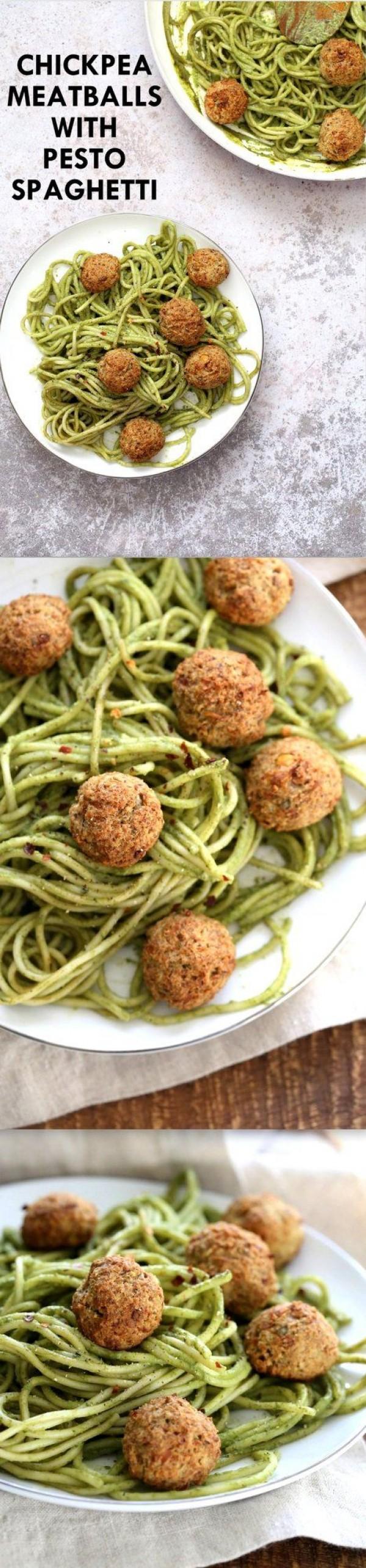 Get the recipe Chickpea Meatballs with Pesto Spaghetti @recipes_to_go