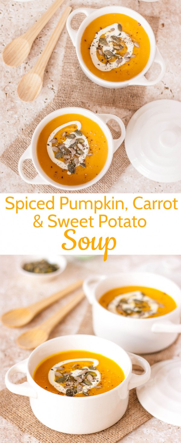 Get the recipe Spiced Pumpkin Carrot and Sweet Potato Soup @recipes_to_go