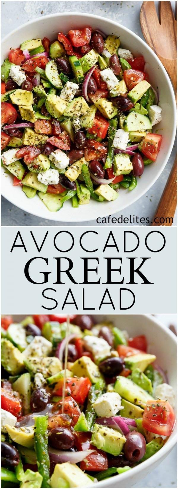 50 Best Healthy Salad Recipes Ever - Check out this recipe for a Greek avocado salad. Yummy! #RecipeIdeas @recipes_to_go