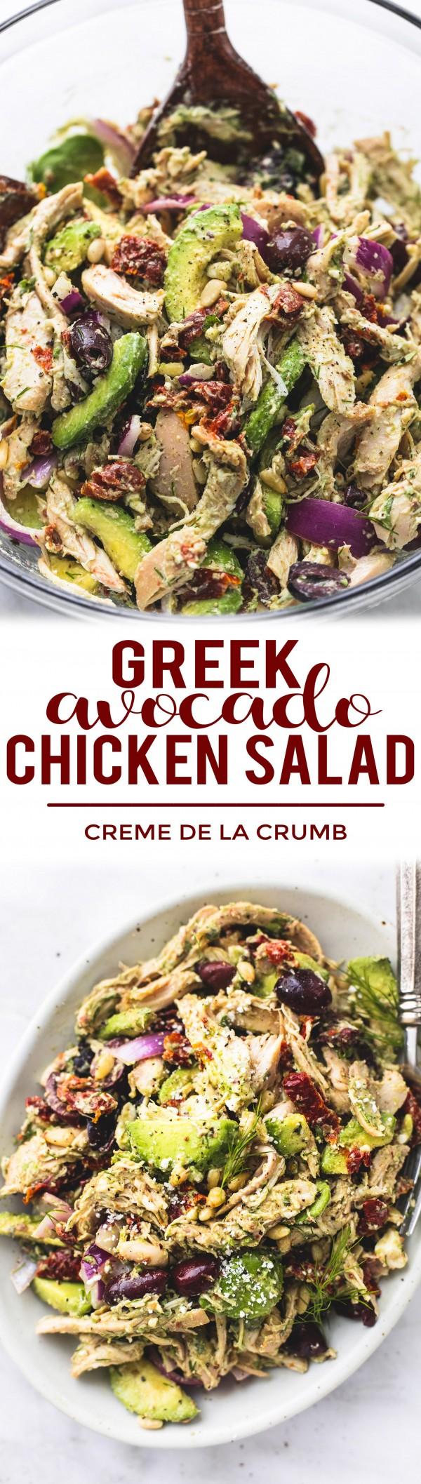 50 Best Healthy Salad Recipes Ever - Check out this recipe for Greek avocado chicken salad. Yummy! #RecipeIdeas @recipes_to_go