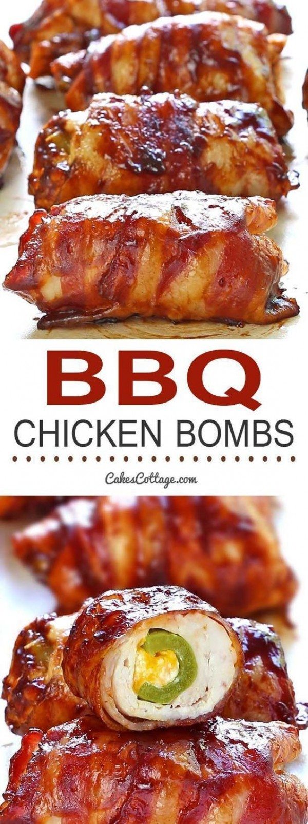 50 Best Chicken Recipes Ever - Check out this recipe for BBQ chicken bombs. Yummy! #RecipeIdeas @recipes_to_go