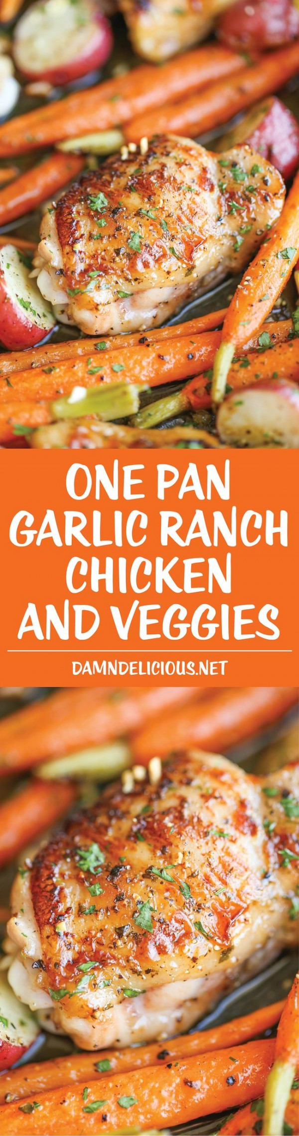 50 Best Chicken Recipes Ever - Check out this recipe for one pan garlic ranch chicken and veggies. Yummy! #RecipeIdeas @recipes_to_go