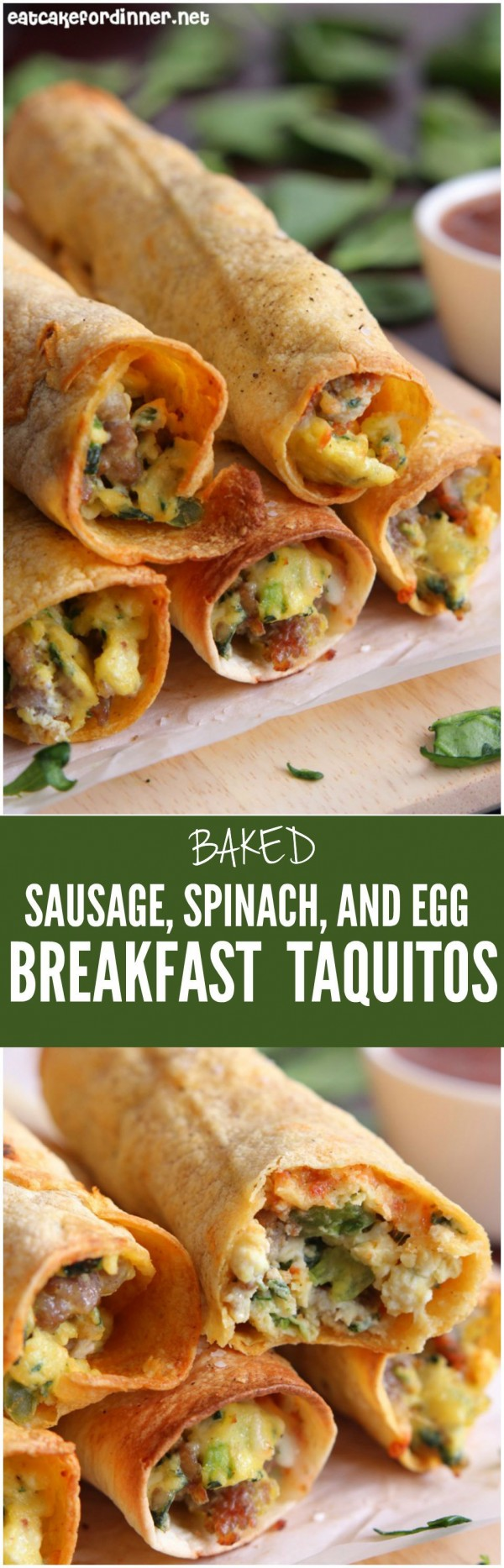 Check out this recipe for breakfast taquitos with baked sausage, spinach and egg. Yummy! #RecipeIdeas @recipes_to_go
