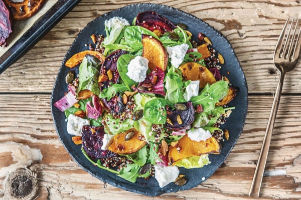 50 Most Delicious and Healthy Vegetarian Recipes - Check out this recipe for roasted pumpkin beetroot nut salad. Yummy! #RecipeIdeas @recipes_to_go