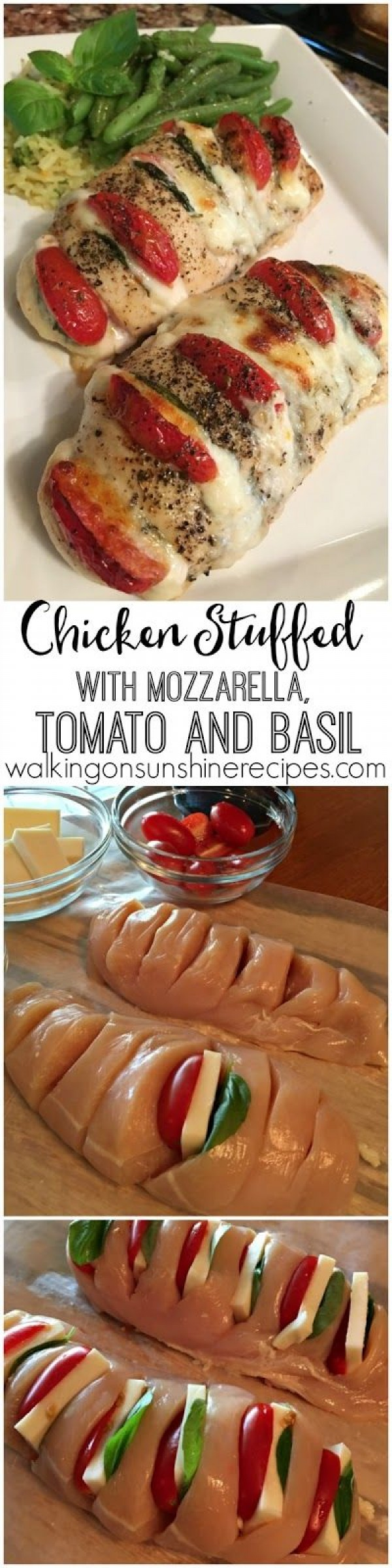 50 Best Chicken Recipes Ever - Check out this recipe for mozzarella tomato and basil stuffed chicken. Yummy! #RecipeIdeas @recipes_to_go