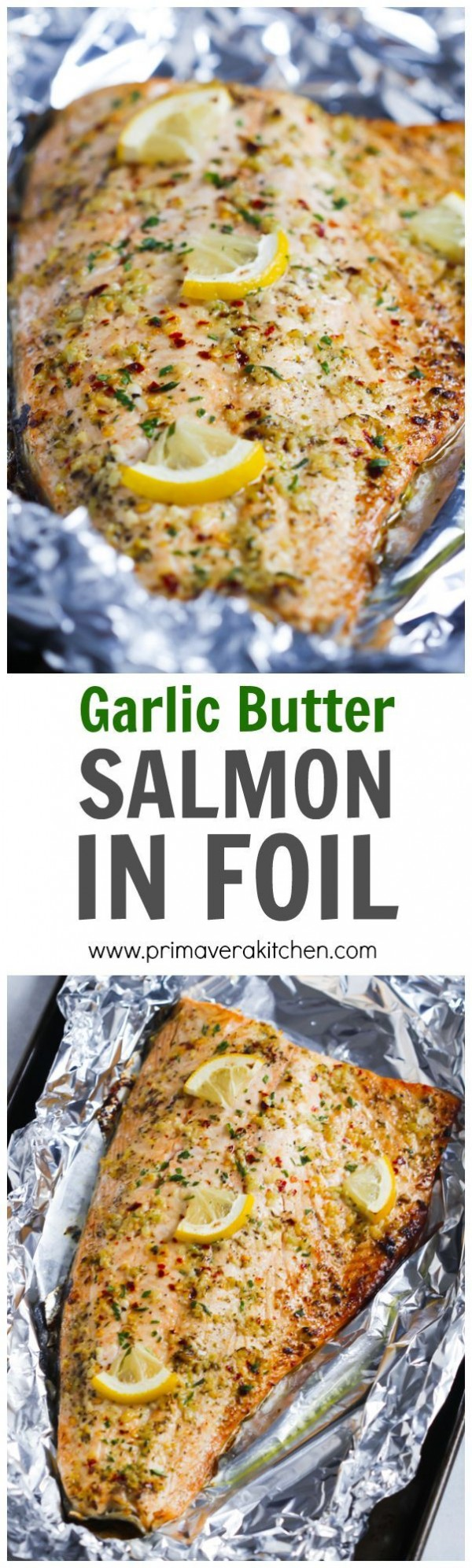 Check out this recipe for garlic butter salmon in foil. Yummy! #RecipeIdeas @recipes_to_go