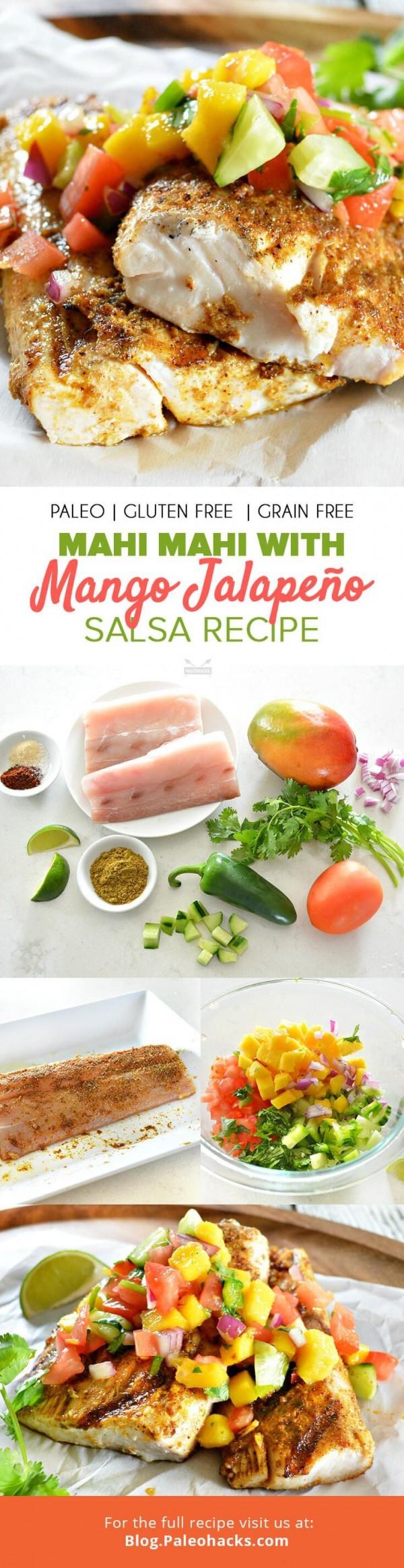 Check out this recipe for mahi-mahi with mango jalapeno salsa. Yummy! #RecipeIdeas @recipes_to_go